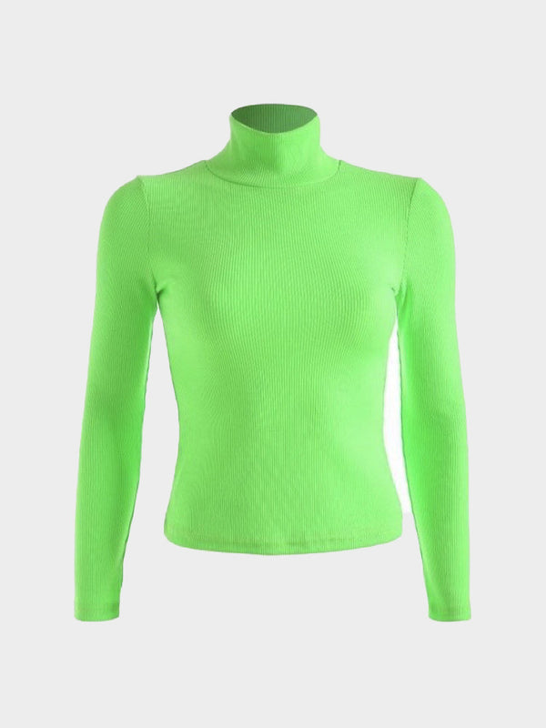 neon green ribbed high turtle neck long sleeves tshirt