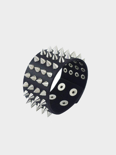 goth spikes black faux leather bracelet