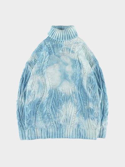 sky blue tie and dye knitted polyester sweater with a turtle neck