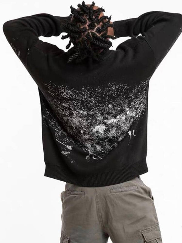 back view of our black sweater with a creepy smiling silhouette shadow printed with the text watch you. On the back there are white brushstrokes