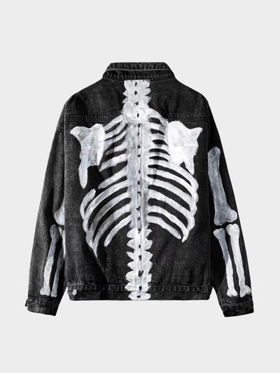 black denim jacket with the skeleton painted in white