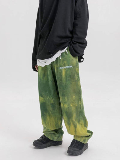 green tie and dye velvet long pants vh studios with made extreme embroidered in white on the top of the left thigh