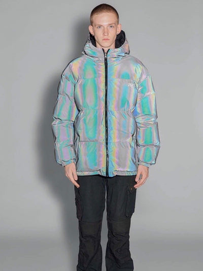 puffy long reflective jacket with a hood and two front pockets