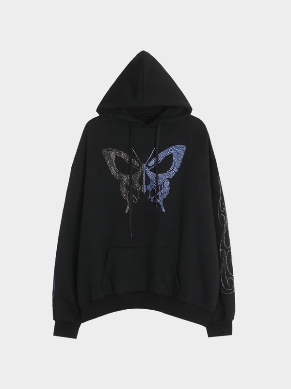 HOODIE BUTTERFLY STRASS