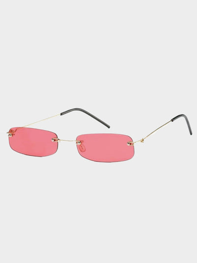 clear red rectangular glasses frameless and thin branch sunglasses