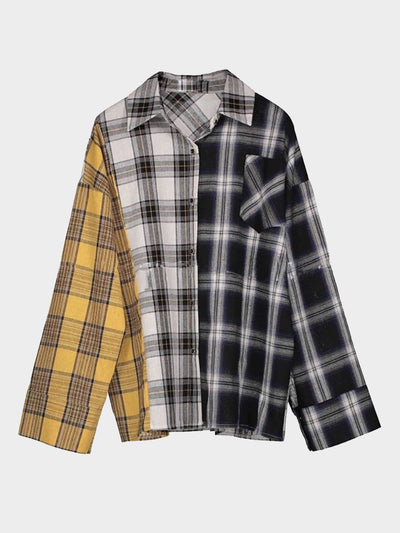 plaid blouse checkered in yellow for one panel, grey for the other and black for another one in one size