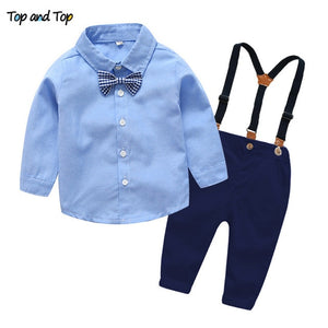 Little Toddler Boys 3Pcs Gentleman Long Sleeves Shirt+Suspender Colorful Pants+Bow Tie Outfit Clothes Set