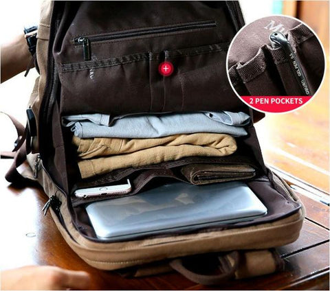 Canvas School Backpack With USB - Gigatrendy.com