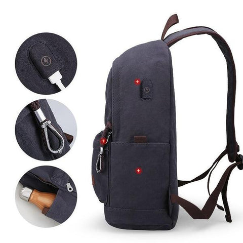 Canvas Collage Backpack With USB Charging Port - Gigatrendy.com