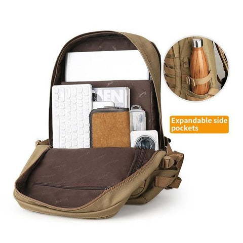 Military Style Laptop Canvas Backpack With USB Charging - Gigatrendy.com