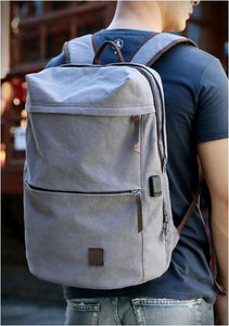 Canvas School Backpack With USB - Shop Gigatrendy.com Trending Products