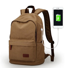 Load image into Gallery viewer, Canvas College Backpack USB CP | Gigatrendy.com