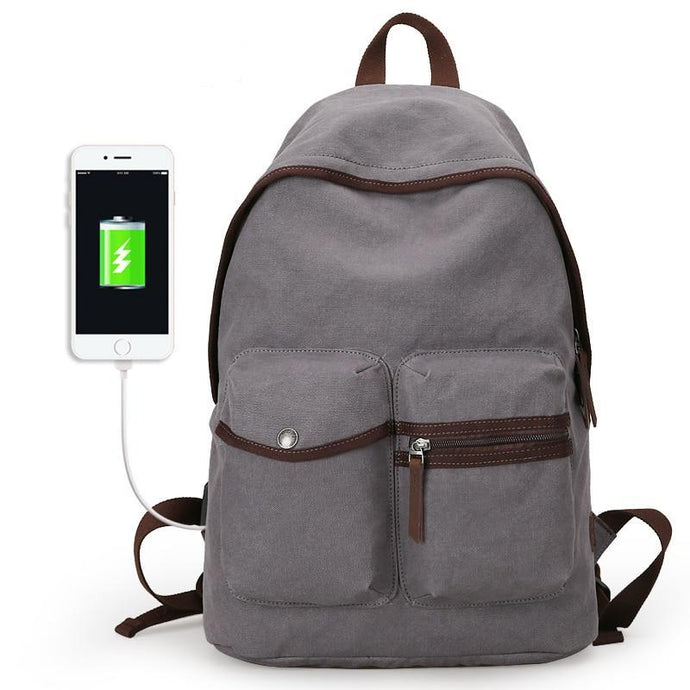 Canvas College Backpack USB CP XL - Shop Gigatrendy.com Trending Products