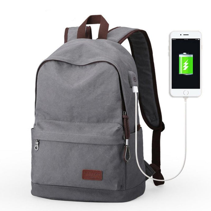 School Backpack,Canvas Collage Backpack With USB Charging Port | Gigatrendy.com