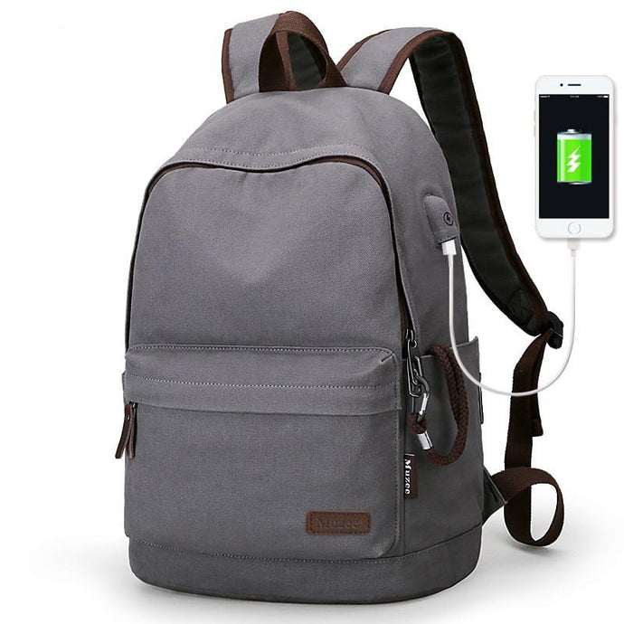 School Backpack,Canvas Backpack Anti-theft College Backpack With USB Charging | Gigatrendy.com