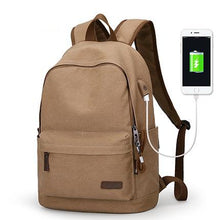 Load image into Gallery viewer, Canvas School Backpack With USB Charging Port - Shop Gigatrendy.com Trending Products