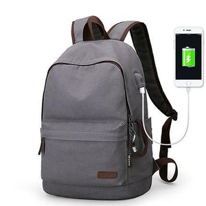 Canvas School Backpack With USB Charging Port - Shop Gigatrendy.com Trending Products