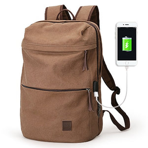 Canvas School Backpack With USB | Gigatrendy.com