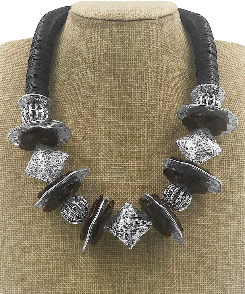 Pewter and Deep Red Water Buffalo Horn