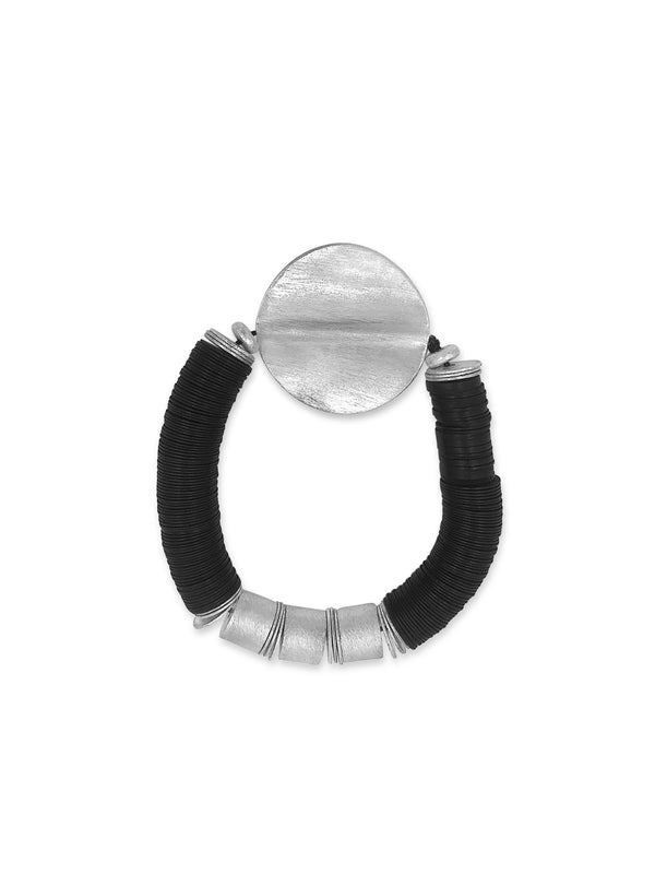 Brushed Sterling Disk Bracelet