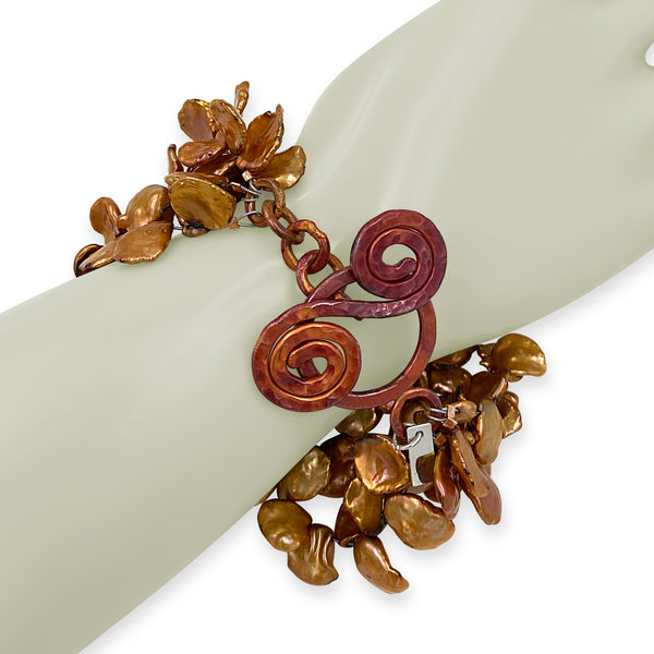 Copper and Keishi-Bracelet