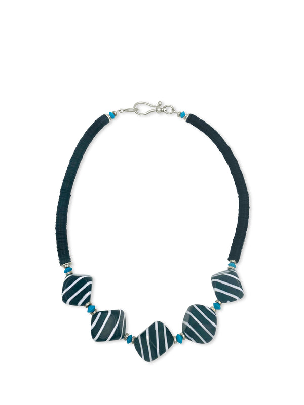 NEW For 2020!  5 Black Polished Cubes and Turquoise