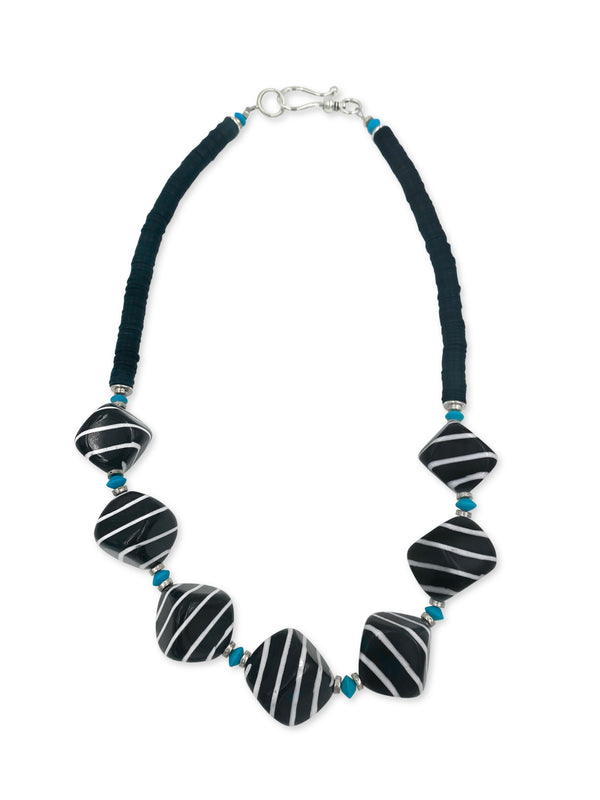 NEW For 2020!  7 Black Polished Cubes and Turquoise