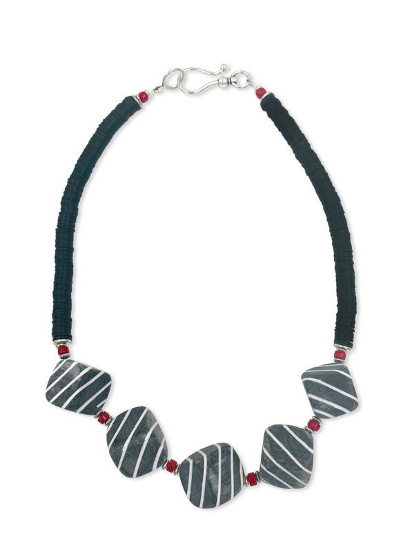 Grey/White Striped Cubes-Coral