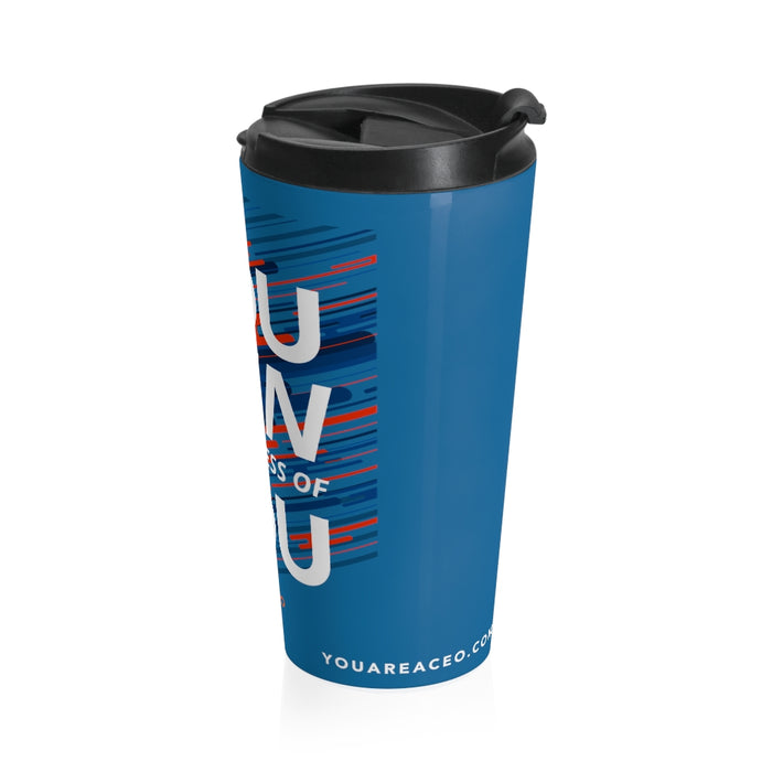 You Run You Stainless Steel Travel Mug in Blue