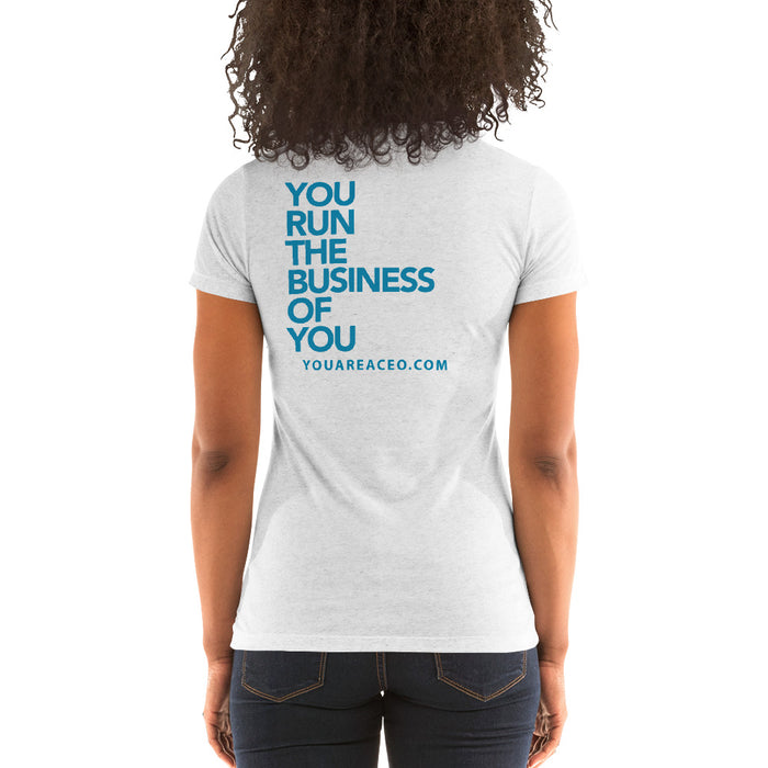 #AreYouFit? Triblend T-Shirt for Women (blue/white)