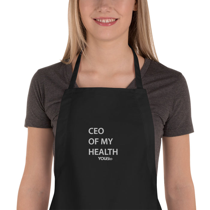 CEO OF MY HEALTH Embroidered Apron with Pockets