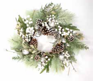 60CM WHITE BERRY AND SLIVER BAUBLE WREATH