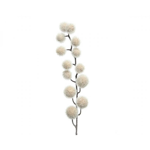 WHITE SPRAY W POM POMS 81CM
