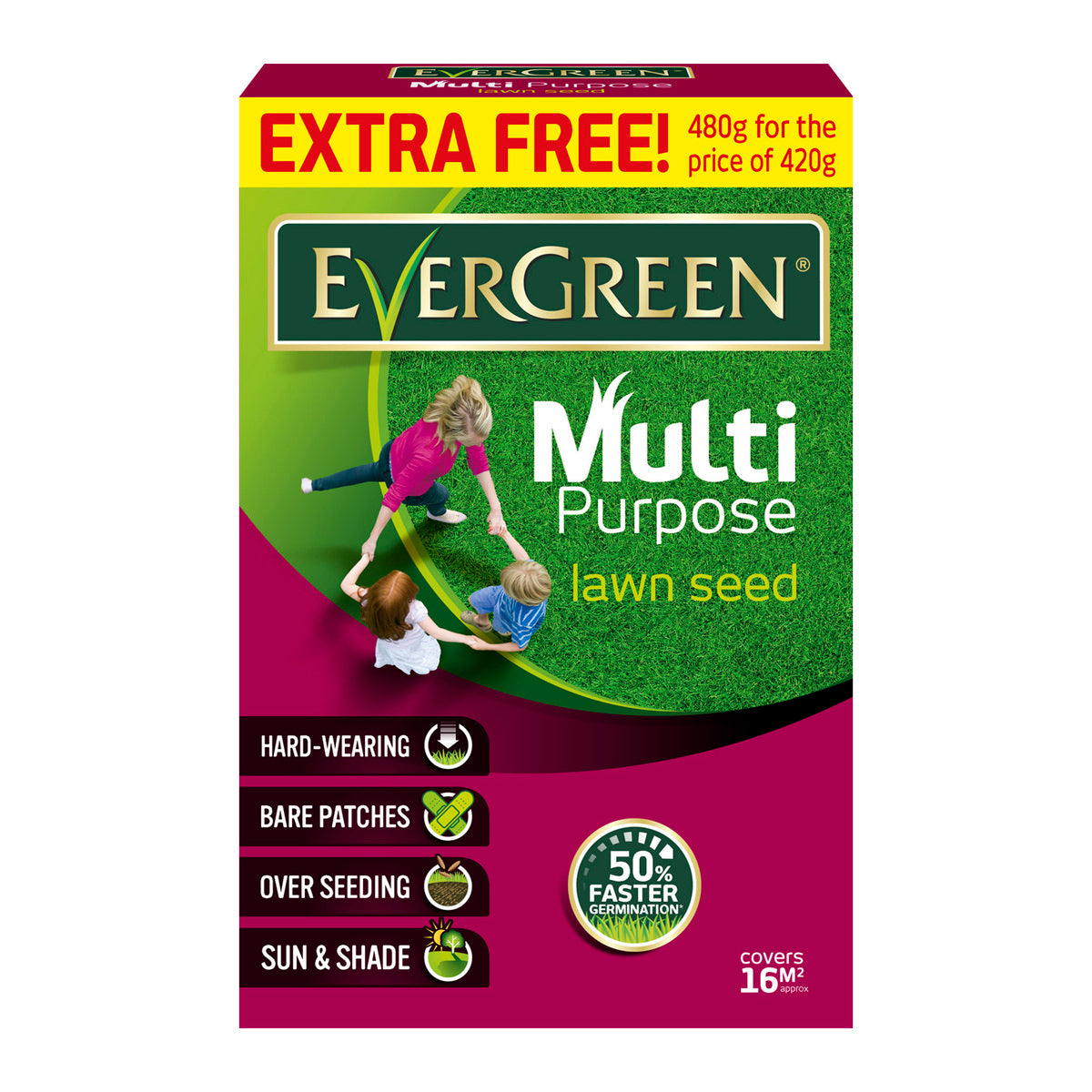 MIRACLE-GRO EVERGREEN MULTIPURPOSE LAWN SEED 480G