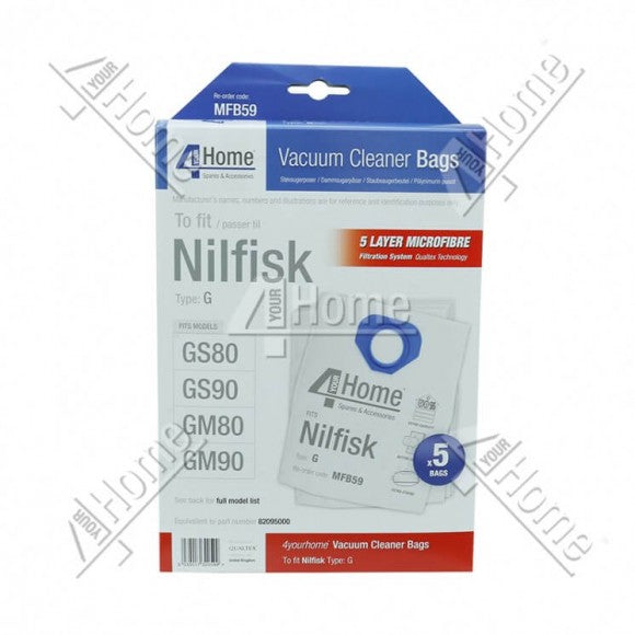 NILFISK GM80-90 REPLACEMENT DUSTBAGS (5)