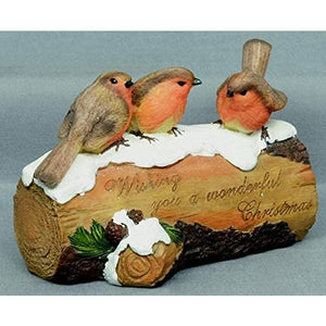 20CM 3 ROBINS ON LOG