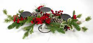 82CM RED BERRY & HOLLY CANDLE HOLDER