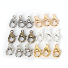 10/12/14/16Mm 100Pcs Metal Lobster Clasps Hooks Gold/Rhodium Lobster Clasps Hooks For Jewelry Making