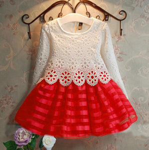 2018 autumn baby girls long sleeve Crochet lace dress children polyester organza red purple kids hook flower tutu dresses FH040