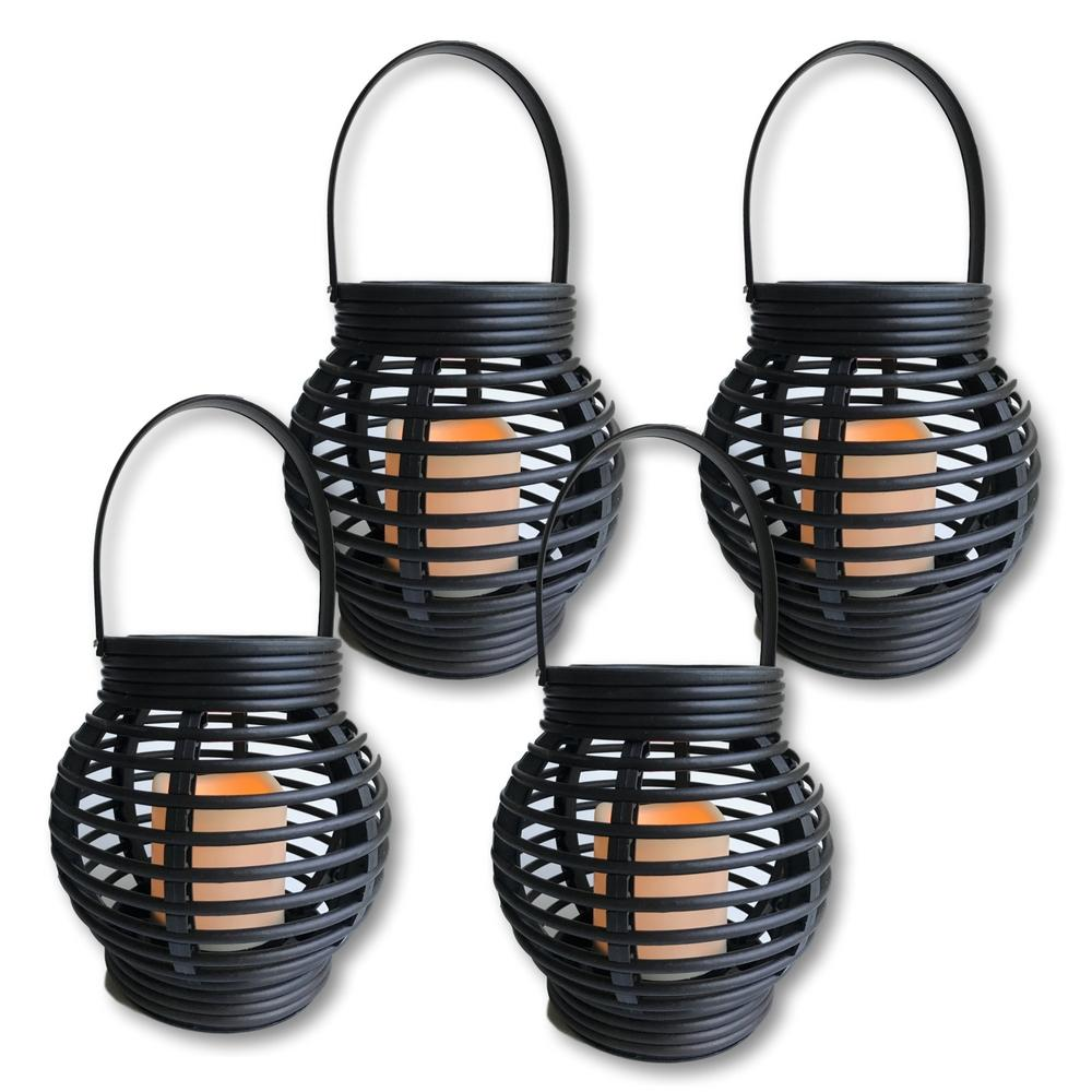 Decorative Candle Lanterns - Pack of 4 - Round Rattan Style Brown Lantern Set with LED Candle - On/Off Switch with Timer Function(9639-4)