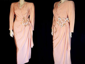 RARE VINTAGE ANDREA ODICINI COUTURE - AMEN WARDY EVENING GOWN - MADE IN ITALY - METAL ZIPPER