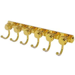 Allied Brass 920D-6 Mercury Collection 6 Position Tie and Belt Rack with Dotted Accent Decorative Hook, Polished Brass