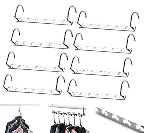 8 Pcs Space Saving Hangers Magic Hangers Metal Heavy Duty Hooks Closet Clothing Hanger Organizer, 10 inch