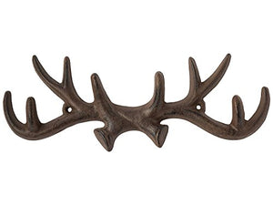 Comfify Vintage Cast Iron Deer Antlers Wall Hooks Antique Finish Metal Clothes Hanger Rack w/Hooks | Includes Screws and Anchors | in Rust Brown (Antlers Hook CA-1507-26)