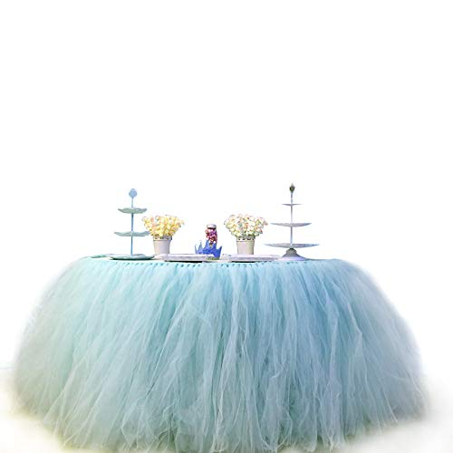 COUTUDI 3ft Tutu Table Skirt Tulle Tablecloth Gauze Romantic Net Yarn for Wedding Party Baby Shower Lace Birthday Party Decoration Bar Valentine's Day Christmas 31 x 36 inch (Sky Blue)