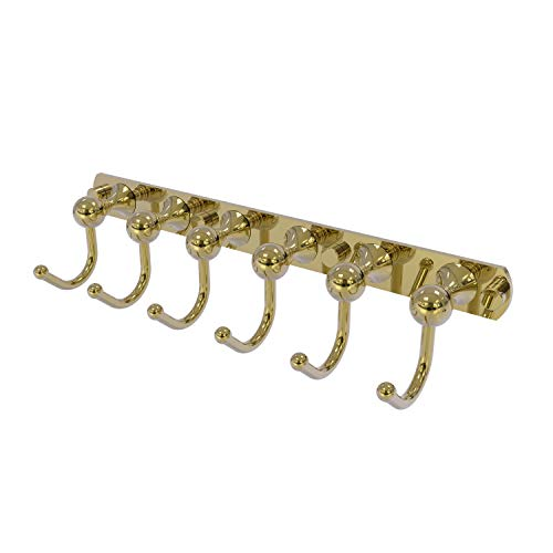 Allied Brass SL-20-6 Shadwell Collection 6 Position Tie and Belt Rack Decorative Hook, Unlacquered Brass