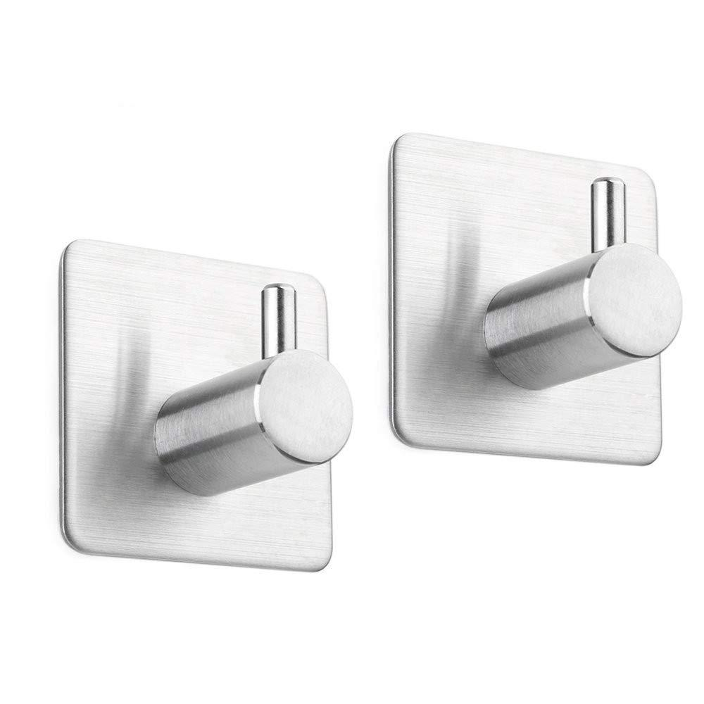 2 Pack of Self Adhesive Hooks? Stainless Steel Wall Mounted Sticky Racks Tea Towel Holder Robe Coat Hat Hook Hanger Heavy Duty Waterproof and Oilproof for Kitchen Bathroom Lavatory ? 3M Stick Hook
