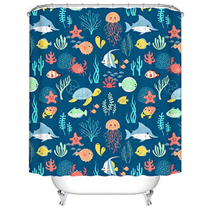 BARTORI Home Decor Shower Curtain Hooks inside Cartoon Octopus Nimo Sea Turtle Shark Crab Starfish and Sea grass in the Sea World Dark Blue Background Waterproof Polyester Fabric Bath Curtain with siz