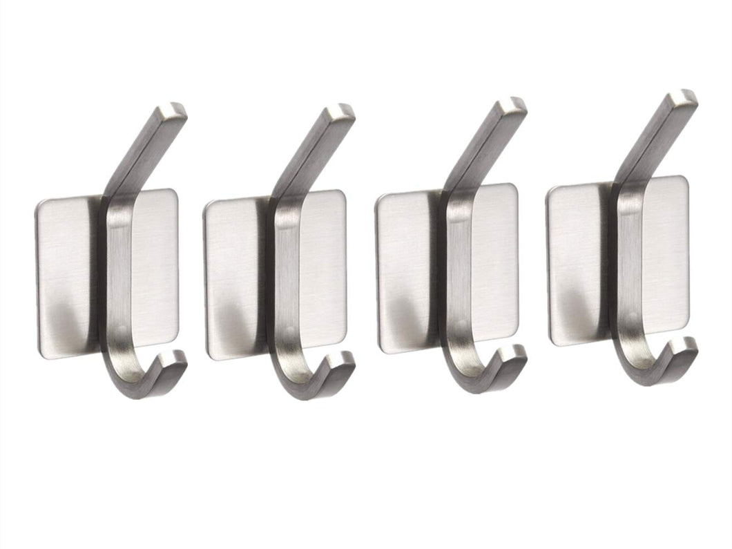 Double Robe Coat Hook Self Adhesive Stainless Brushed Steel Bathroom Towel Hooks Kitchen Office, 4 Packs