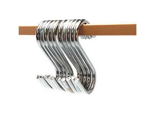 "K-56 S-Shaped Utility Hooks Stainless Steel Hanging Hooks Hangers for Office, Kitchen and Bedroom, 10PCS 3.25"" (KHK3.25)"